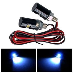 2 x White LED Motorcycle Car License Plate Bolt Lights. Description:  super Bright And Long Lasting, Low Consumption  easy To Install, Direct Bolt-on, Shock Resistant  connection: 2 Wires  usage: License Plate Light  compatibility: Universal (can Be Used In Car Or Motorcycle)  voltage: 12v  light Color: White  head Dimensions:17mm X 12mm (l X D)  cable Length: 57.2cm    package Included:  2 X Led License Plate Bolt Lights (left & Right)