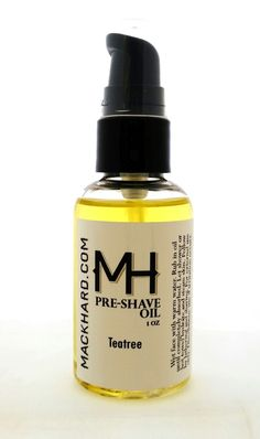 http://www.mackhard.com/shop/mackhard-pre-shave-oil MACKHARD original Pre-Shave Oil blend of Grapeseed, coconut, kukui, baobab, castor and a touch of teatree oil moisturize your skin and add an extra layer of protection against razor burn or irritation. It also softens your beard so that the razor can easily cut through the hairs without pulling. This oil has a very light tea tree scent.