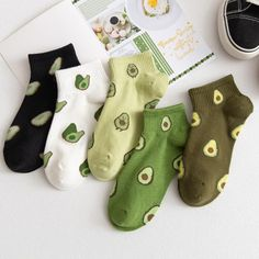 Cute Avocado, Japanese Cartoon, Short Socks, Cute Socks, Cotton Socks, Ankle Socks, Cartoon Styles, Gifts For Girls, Cartoon Flowers