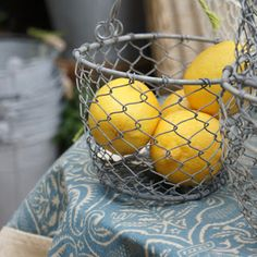 Vintage baskets add a rustic feel to the kitchen...