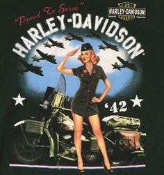 Harley Davidson Stickers, Harley Davidson Images, Vintage Harley Davidson, Military Sleeve Tattoo, Bike Art, Motorcycle Art, Harley Davidson Dealership, Pin Up Girl Tattoo, Pin Up Girl Vintage