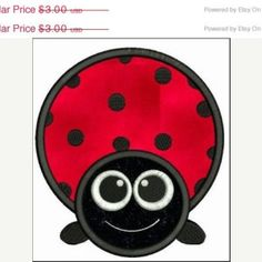 SALE 65% off Big Eyed Ladybug Applique Machine Embroidery Designs 4x4 & 5x7 Instant Download Sale