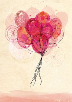 Carnival Balloons Art Print A4 8x11 by lovelysweetwilliam on Etsy