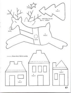 Reindeer, Tree and Houses Appliques