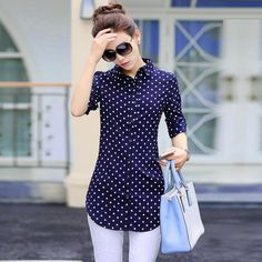 New Fashion Print Blouses Women Long Style Shirts 2018 Cotton Ladies Tops Long Sleeve Blusas Femininas Plus Size Women Clothing – 2019 - Cotton Diy Ärmelloser Pullover, Pullover Outfit, Trendy Outfits, Fashion Outfits, Ladies Fashion, Fashion Ideas, Womens Fashion, Fashion Tips, Chiffon Shirt