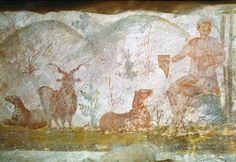 ROME, DOMITILLA CATACOMBS, ORPHEUS. Rome – Roma (Italy), Domitilla-Catacombs – Catacombe di Domitilla, Grave by a staircase.  Orpheus enchants the wild animals with his music.  Early Christian mural, 3rd Century. 50 × 90 cm.