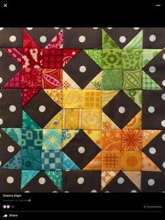 Make a scrappy quilt using this for each square