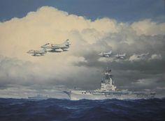 6 A-4 SkyHawk's pasando por el portaaviones 25 de Mayo