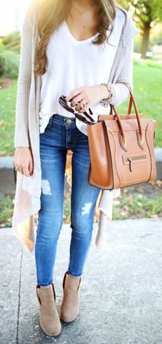 cardigan + white tank + ripped jeans + boots                                                                             Source