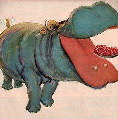 vintage hippo animal 1954 advertisement jello par FrenchFrouFrou