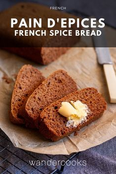 A classic french spice bread, this pain d'epices is made with the traditional rye flour and a warming blend of ground spices sweetened with honey. It's basically gingerbread cake! Easy Anzac Biscuits, Vietnamese Fried Spring Rolls, Spice Cake Recipes, Baking Recipes, Cookie Recipes, Spice Bread, Gingerbread Cake, Quick Snacks, Rye Flour