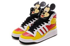 Jeremy Scott adidas Originals JS Mickey Hi Super limited fashion shoes Yellow red white black