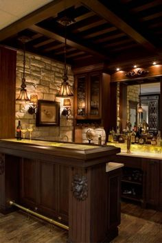 Every mans dream space includes a custom designed bar. Dura Supreme Cabinetry Designed by Karr Bick Kitchen and Bath, St. Louis, MO