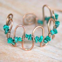 Artisan Copper Bracelet with Malachite Handmade by NeroliHandmade, $25.00