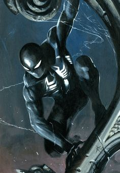 Spider-Man Black By Gabriele Dell'Otto #Comics #Illustration #Drawing