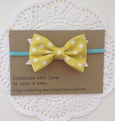 baby bow headband- citron polka dot bow on aqua elastic, spring bow. $7.00, via Etsy.