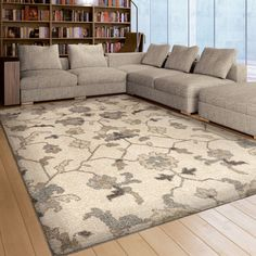 "awesome Carolina Weavers Floral Plymouth Ivory Area Rug (7'10"" x 10'10"")"