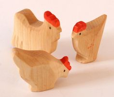 Cock And Chicken, Farm Animals, Wooden Animals Carved By Hand