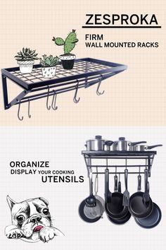 Kitchen ideas with Zesproka pan racks. Full Storage. Organize and display your cooking utensils.