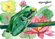 ACEO Limited Edition 8/25- Little frog enjoying the scenery, Gift for animal lovers, Art print of an original ACEO watercolor,Home deco idea