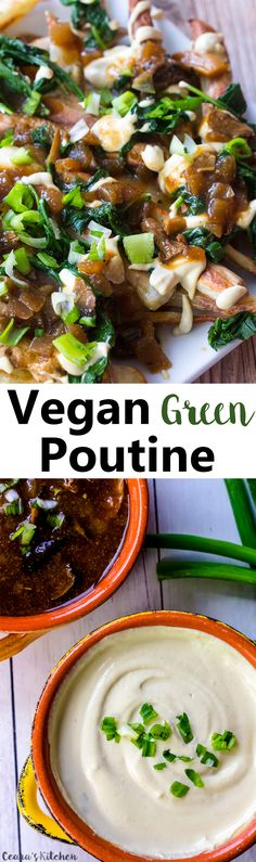 Vegan Poutine... crispy baked fries are topped off with a creamy and tangy cheese sauce and rich mushroom gravy. Made with lots of greens for good measure!