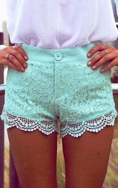 Mint Paisley Lace Overlay Shorts With Crochet Trim, Bottoms, Lace Shorts Crochet Shorts, Casual