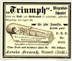 Original-Werbung/ Anzeige 1898 - TRIUMPH WIEGENBAD - SCHAUKEL / LOUIS KRAUSS - NEUWELT IN SACHSEN - ca. 100 x 80 mm