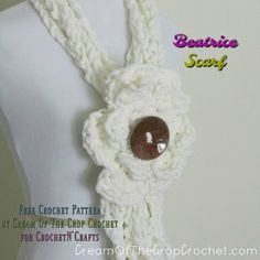 FREE crochet pattern for the Beatrice Scarf Crochet Pattern by Cream Of The Crop Crochet. The spring scarf is easy to crochet and perfect for any occasion. Crochet Mug Cozy, Crochet Gifts, Free Crochet, Diy Crochet Flowers, Crochet Flower Tutorial, Crochet Tutorials, Crochet Stitches, Crochet Patterns, Spring Scarves