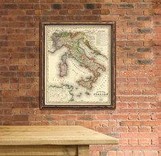 Italy map  Wall map  Antique map print  Vintage by AncientShades