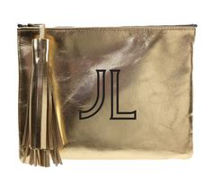 leather clutch with tassel gold-sophia font from Parker Thatch