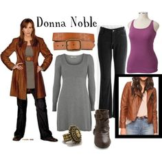 "Donna Noble from ""Journey's End""  (Or the Doctor Donna if you wish)  Oasis cotton slip dress, $50Old Navy scoop neck tank, $13Forever 21 zipper jacket, $17NYDJ slim fit jeans, $32Flat buckle boots, $35Antique gold ring, $6.90Buckle belt, $5.97"