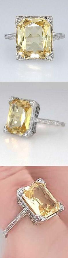Bright Art Deco 3.73ct Natural Yellow Sapphire & Diamond Filigree Ring 18k
