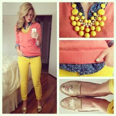yellow pants, coral sweater, polka dot chambray, bauble necklace and gold shoes. Perfect spring or even fall outfit. Cute Spring Outfits, Cute Outfits, Coral Sweater, Coral Shirt, Look Fashion, Womens Fashion, Ladies Fashion, Yellow Pants, Coral Pants Outfit
