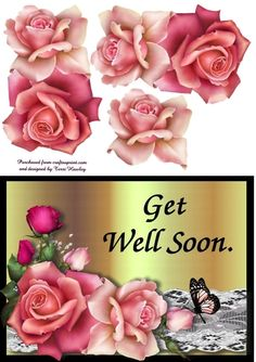 This is a beautiful card front that is really easy to makes and fits any envelope when finished. this same card comes with greetings, Get Well soon and with Deepest Sympathy under different numbers. Sympathy Cards, Greeting Cards, Birthday Cards, Happy Birthday, 3d Pattern, Patterns, Deepest Sympathy, Get Well Soon, Pink Roses