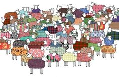 """colorful sheep"" print by Mary Kilvert on Etsy. super playful and cute!"