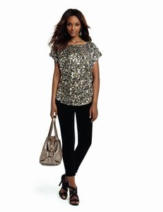 The Limited - Sequin Top and 678 Glazed Legging Jeans