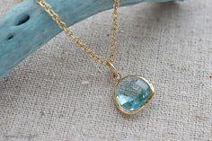 Aquamarine Necklace March Birthstone Color by ilovevivid on Etsy, $32.00