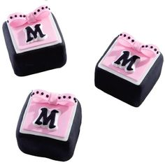 Little Formalities Mini Cake  - Matching monograms add a personalized, yet distinctive touch to these petit fours. Easily craft fondant letters using the Letters & Numbers Gum Paste & Fondant Mold Set and Ready-To-Use Rolled Fondant.
