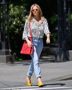 Celebrity Street Style Picture Description Chic: Sienna Miller cut a relaxed figure as she stepped out in New York City on