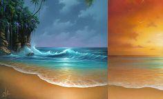 Beautiful Moon and Sun Rise Paintings.
