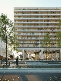 TVK is a Paris-based international architecture and urban design office created by Pierre Alain Trévelo and Antoine Viger-Kohler in Bruther Architecture, Architecture Visualization, Arch Building, Mix Use Building, Abou Dabi, Green Facade, Social Housing, Amazing Buildings, Facade Design