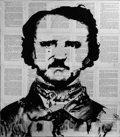 62cm X 70cm  Oil, Paper  a Portrait of author Edgar Allan Poe painted on the pages of old Books. Artist-Franscois Potgieter