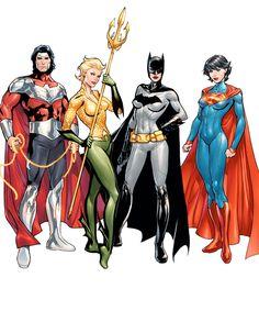 The Multiversity (DC Comics) Wonderus Man, Aquawoman, Batwoman, and Superwoman by Emanuela Luppachino, colours by Tomeu Morey - Visit to grab an amazing super hero shirt now on sale! Math Comics, Heros Comics, Dc Comics Characters, Comics Girls, Dc Heroes, Batwoman, Batgirl, Supergirl, Arte Dc Comics