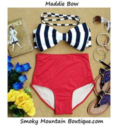 Maddie Bow Retro High Waist Swimsuits (Black/White Striped Top and Red Bottom) S M L XL