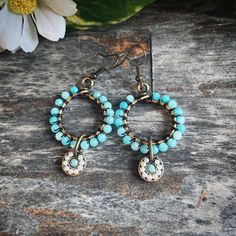 Beautiful boho inspired hoops are perfect addition to any boho lover collection! They are carefully wrapped with with amazonite gemstones over brass hoops and look so stylish! Every purchase is carefully packaged in a gift box and is ready for gifting!