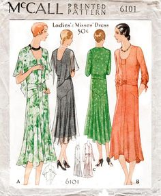 Shop dress patterns- Optional capelet cascades over sleeveless dress. Dress can also be fashioned with length sleeves. Wide belt fastens at waist Dress Patterns Uk, Vintage Dress Patterns, Vintage Dresses, Vintage Outfits, 20s Outfits, Vintage Clothing, 1930s Fashion, Vintage Fashion, Women's Fashion