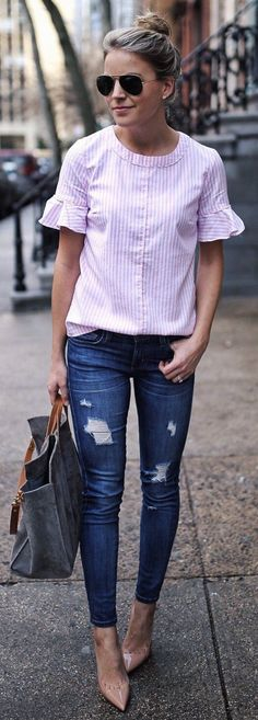 Pink Striped Blouse / Ripped Skinny Jeans / Nude Pumps / Grey Tote Bag