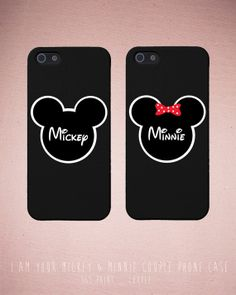 Couples iPhone Case Set - Matching iphone 4 4S 5 5C Galaxy S3 S4 Cases in Black with Mickey & Minnie - Romantic Gift from 365inlove.com