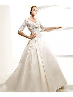A-Line V-Neck Floor Length embroidery wedding Dresses