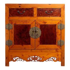 42b5f0dc6032 Early 20th Century Chinese Cabinet Made of Elm and Burl Wood with Carved  Skirt
